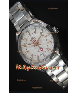 Omega Seamaster COAX GMT Reloj Suizo de Acero Inoxidable Dial Blanco