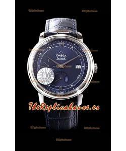 Omega De Ville Prestige Power Reserve Reloj Réplica Suizo a Espejo 1:1 Acero 904L Dial Azul