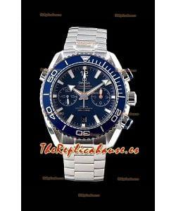 Omega Planet Ocean 600M Chronograph Reloj Réplica Suizo a Espejo 1:1 Acero 904L Dial Azul