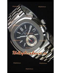 Patek Philippe Nautilus 5980 Reloj Replica Espejo 1:1, Cronógrafo, Caja en Acero, Dial Negro