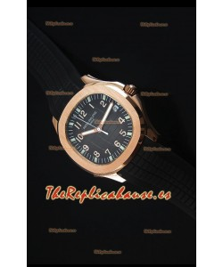 Patek Philippe Aquanaut Jumbo Rose Gold 1:1 Reloj Replica a Espejo Dial coloreado en Negro