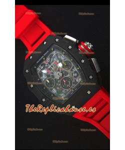 Richard Mille RM011-03 Reloj con Caja de Carbón Forjado color Negro de una sola Pieza en Correa color Rojo