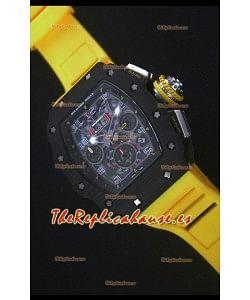 Richard Mille RM011-03 Reloj con Caja de Carbón Forjado color Negro de una sola Pieza en Correa color Amarillo