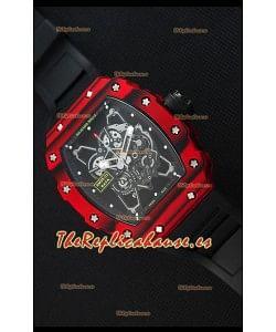 Richard Mille RM35-01 Reloj con Caja de Carbón Forjado Rojo de una sola Pieza en Correa color Negro