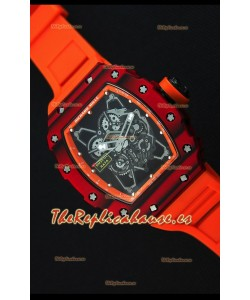 Richard Mille RM35-01 Reloj con Caja de Carbón Forjado Rojo de una sola Pieza en Correa color Naranja