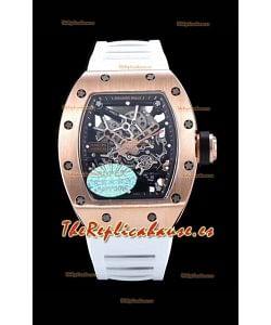 Richard Mille RM035 AMERICAS Reloj Réplica en Oro Rosado 18K Correa Blanca