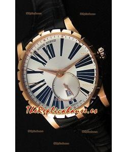 Roger Dubuis Excalibur RDDBEX0587 Oro Rosado Dial Blanco de Acerfo Reloj Réplica Suizo