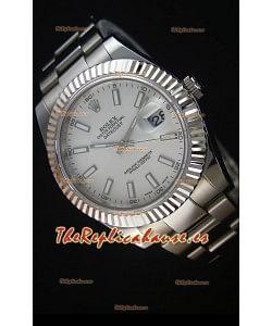 Rolex Datejust II 41MM Reloj Replica Suizo con Movimiento Cal.3136 Dial en color Blanco, Marcadores de Hora tipo Stick