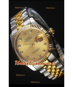 Rolex Datejust Reloj Replica en Oro, Dial con Diamantes, 36MM con Movimiento Suizo 3135