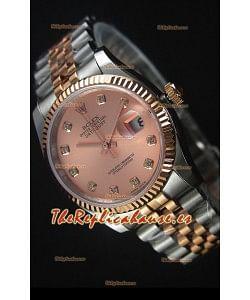Rolex Datejust Reloj Replica en Oro Rosado, Dial con Diamantes, 36MM con Movimiento Suizo 3135