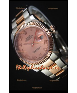 Rolex Datejust Reloj Replica en Oro Rosado, Dial con Numeros Romanos, 36MM con Movimiento Suizo 3135