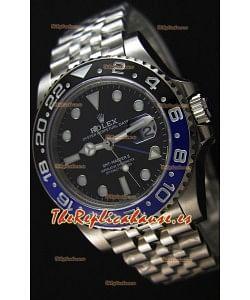Rolex GMT Masters II 126710BLNR Batman Cal.3186 Movement Réplica Suiza - Reloj Ultimate de Acero 904L