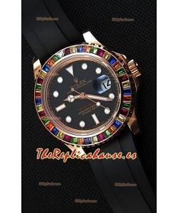 Rolex Yachtmaster 116695 Everose Gold Diamonds Cal.3135 Reloj Suizo a Espejo 1:1 Ultimate Acero 904L