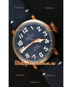 Zenith Pilot Type 20 Extra Special Vintage Style Dial Azul Reloj Réplica Suizo a Espejo 1:1