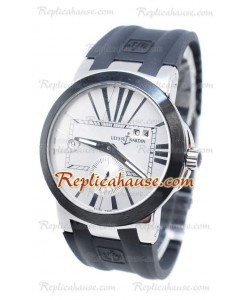 Ulysse Nardin Executive Dual Time Dial Blanco Black Strap Reloj