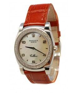 Rolex Celleni Cestello Reloj Suizo Señoras con Esfera Perla, Correa de Piel y Diamantes en Bisel
