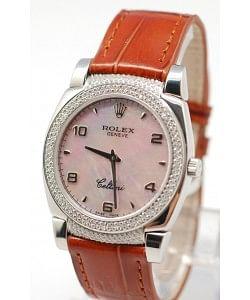 Rolex Celleni Cestello Reloj Suizo Señoras Penk con Esfera Perla, Correa de Piel, Diamantes en Bisel y Terminales