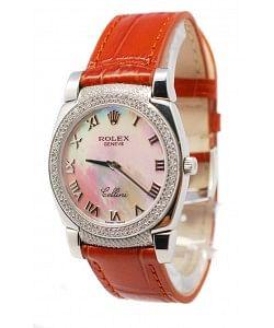 Rolex Celleni Cestello Reloj Suizo Señoras Esfera Blanca Perla Romana, Correa de Piel, Diamantes en Bisel y Terminales