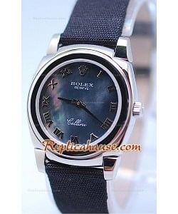 Rolex Celleni Cestello Reloj Suizo Señoras Esfera Perla Romana Negra y Correa de Nilón