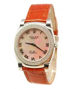 Rolex Celleni Cestello Reloj Suizo Señoras con Esfera Beige Perla Romana, Correa de Piel y Diamantes en Bisel