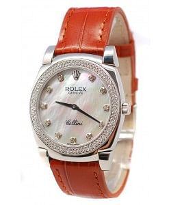 Rolex Celleni Cestello Reloj Suizo Señoras con Esfera Perla Blanca, Correa de Piel y Diamantes en Bisel y Horas