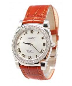 Rolex Celleni Cestello Reloj Suizo Señoras con Esfera Plata Romana, Correa de Piel y Diamantes en Bisel