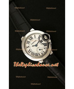 Ballon De Cartier Reloj para Señoras de Acero Inoxidable con Correa de Piel Negra