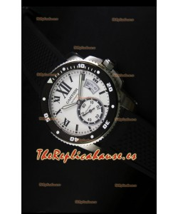 Calibre De Cartier Reloj con Caja de Acero 42MM Dial Blanco -  Reloj Réplica Espejo 1:1