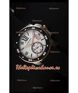 Calibre De Cartier Reloj con Caja de Acero 42MM Dial Blanco, Color de la Caja en Dos Tonos -  Reloj Réplica Espejo 1:1