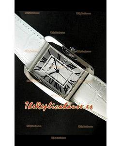 Cartier Tank para damas Réplica Cascasa de acero/Malla blanca