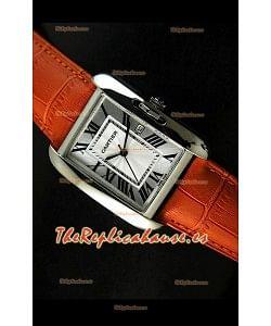 Cartier Tank para damas Réplica Cascasa de acero/Malla naranja