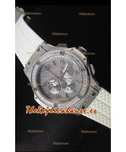 Hublot Big Bang Rose Acero Inoxidable Movimiento de Cuarzo en Correa Blanca