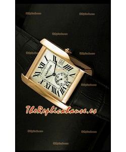 Cartier Tank Anglaise, Reloj Réplica Japonesa Oro Rosado, Dial color Blanco, tamaño 34MM