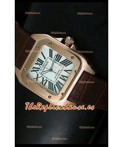 Cartier Santos 100, Réplica en escala 1:1, Reloj color Oro Rosado, tamaño 42MM