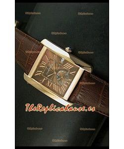 Cartier Tank Anglaise, Reloj Réplica Japonesa Oro Rosado, Dial color Marrón, tamaño 34MM