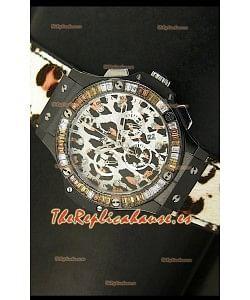 Hublot Big Bang Edición White Zebra Bang, Reloj 34MM, caja con recubrimiento PVD en Negro