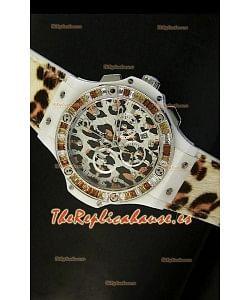 Hublot Big Bang Edición White Zebra Bang, Reloj 34MM, caja con recubrimiento PVD en Blanco