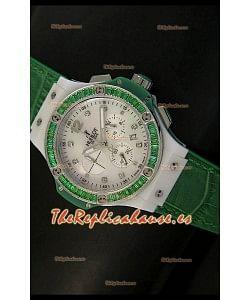 Hublot Big Bang para mujeres, Edición Tutti Frutti, Correa Verde, tamaño 34MM