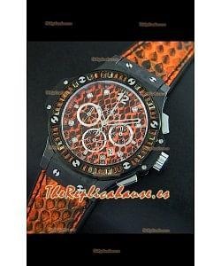 Hublot Big Bang para mujeres, Reloj 34MM movimiento de cuarzo, Dial/Correa en Naranja