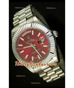Rolex Day Date II, Reloj Réplica Suiza 41MM - Dial Rojo - réplica en escala 1:1