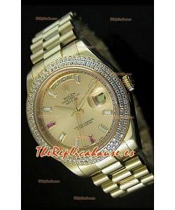 Rolex Day Date II, Reloj Réplica Suiza 41MM - Dial de Oro - réplica en escala 1:1