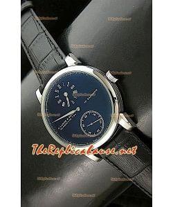 Réplica de reloj automático japonés Alange Sohne de esfera negra