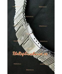Breitling de acero inoxidable sólido 440 pulido, malla con doble traba Breitling