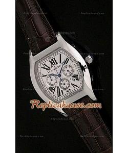 Cartier Tortue Reloj Crónografo Japonés de Cuarzo con Esfera Blanca