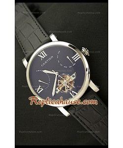 Cartier Tourbllon Reproducción Japonesa del Reloj con Esfera de color Negro