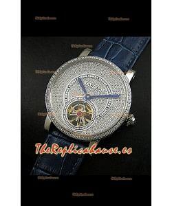 Cartier Calibre turbillón japonés con esfera de diamante malla azul