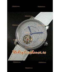 Reloj Turbillón Cartier Calibre con esfera de diamante y malla blanca
