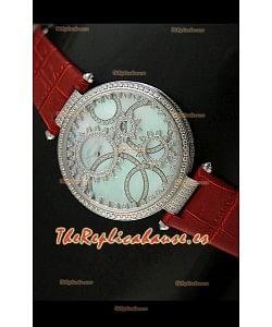 Cartier Réplica Bisel de diamantes Carcasa de acero inoxidable/Malla roja