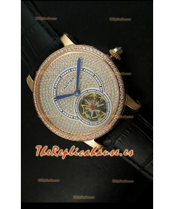 Ronde De Cartier Turbillón Réplica Carcasa de oro rosado/Malla negra