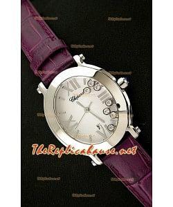 Chopard Happy Sport Reloj Japonés Señoras en Correa de Piel Púrpura